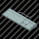 desktop, isometric, key, keyboard, modern, object, pc