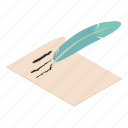 feather, isometric, message, notebook, object, paper, write