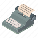 isometric, message, notebook, object, paper, typewriter, work