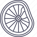 bicycle, broken, deformed, disortion, failure, wheel, wsd icon