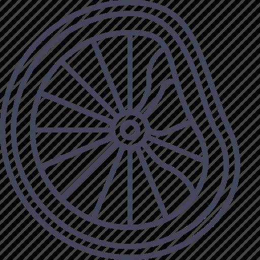 bicycle, broken, deformed, disortion, failure, wheel, wsd icon