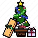 christmas, decoration, holiday, present, snow, tree, xmas icon