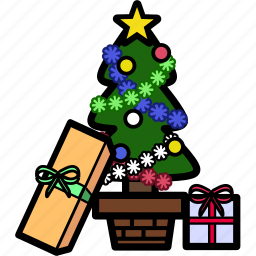christmas, decoration, holiday, present, snow, tree, xmas icon