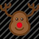 caribou, deer, reindeer, santa, sled icon