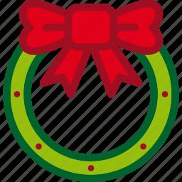 christmas, decoration, holiday, wreath, xmas icon