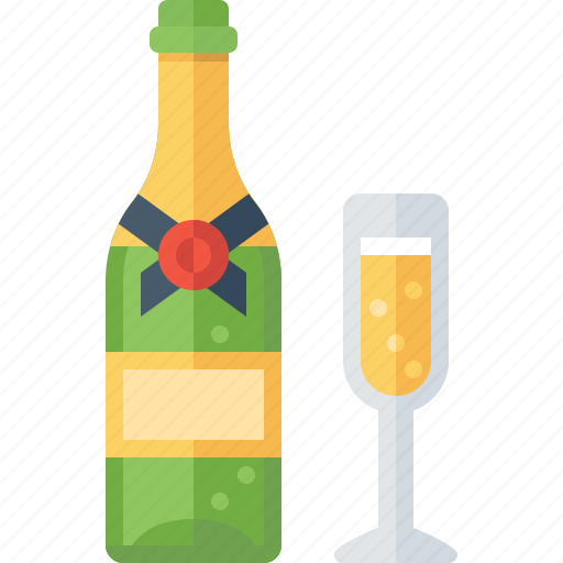 alcohol, beverage, bottle, celebration, champagne, drink, glass icon