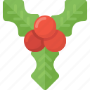 christmas, decotation, mistletoe, xmas icon