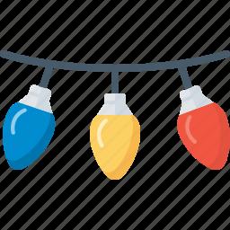 bulb, celebration, christmas, decoration, electric, lights, xmas icon