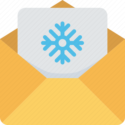 email, invitation, letter, mail, present, snowflake, xmas icon