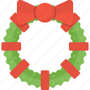 christmas, decoration, leaf, wreath, xmas icon