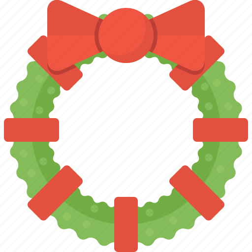 christmas, decoration, leaf, wreath, xmas icon