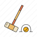 ball, croquet, games, hoops, lawn game, mallet, yard game icon