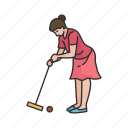 croquet, female player, game, hit, lawn game, mallet, yard game icon
