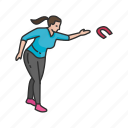 female player, horseshoe player, horseshoes, player, yard games icon