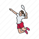 badminton, badminton player, female player, games, player, racket, yard games icon