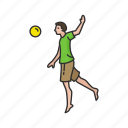 ball game, game, male player, outdoor game, spike ball, volleyball player, yard game icon