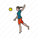 ball game, female player, game, outdoor game, spike ball, volleyball player, yard game icon