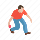 ball sport, bocce ball, bocce player, game, male player, player, yard game icon