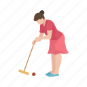 croquet, female player, hit, lawn game, mallet, player, yard game icon