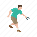 games, horseshoe, male player, player, player horseshoe player, yard games icon