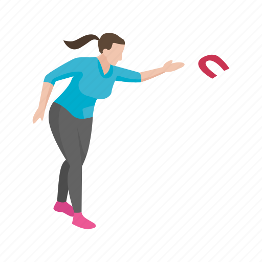 female player, games, horseshoe player, player, yard games icon