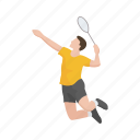 badminton, badminton player, games, male player, player, sports, yard games icon