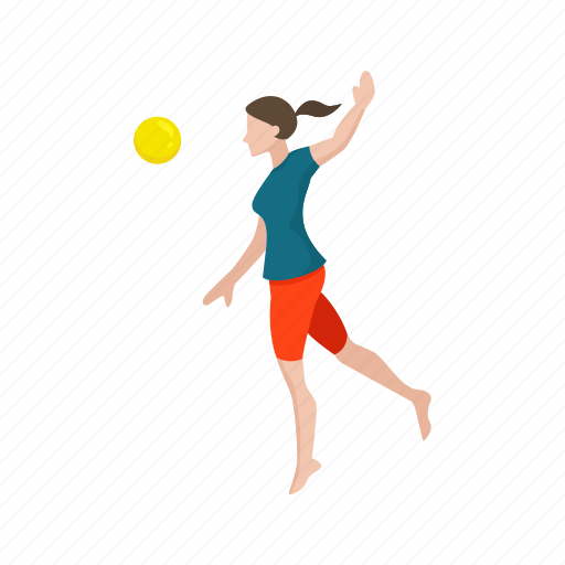 ball game, female player, game, spike ball, volleyball player, yard game icon