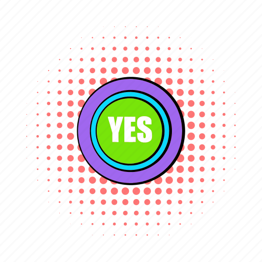 agree, comics, positive, success, text, word, yes icon