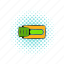 comics, lever, start, switch, toggle, word, yes icon