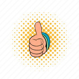 comics, finger, good, hand, success, thumb, up icon