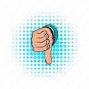 comics, down, finger, gesture, hand, rejection, thumb icon