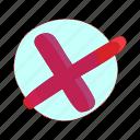cartoon, check, choice, cross, mark, no, red icon