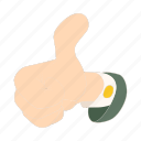 cartoon, hand, network, social, success, thumb, up icon