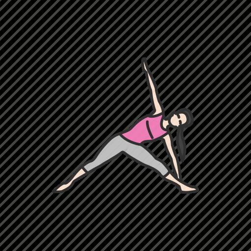 exercise, fitness, meditation, trikonasana, workout, yoga, yoga pose icon