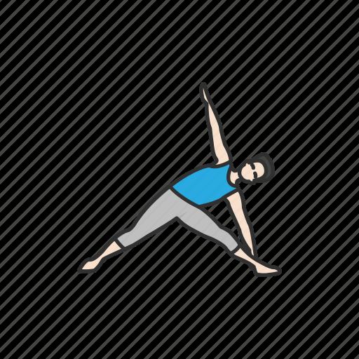 exercise, fitness, triangle pose, trikonasana, yoga, yoga pose icon