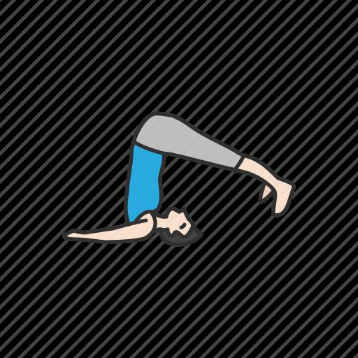 bending, exercise, fitness, halasana, plow pose, yoga, yoga pose icon