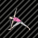 exercise, fitness, revolved triangle pose, trikonasana, yoga, yoga pose icon