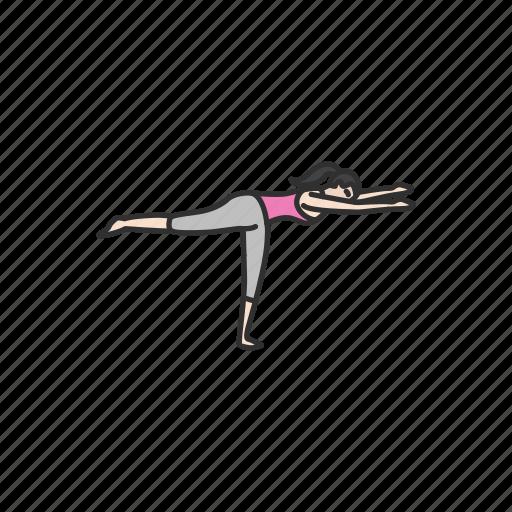 fitness, meditation, virabhadrasana, warrior 3 pose, yoga, yoga pose icon