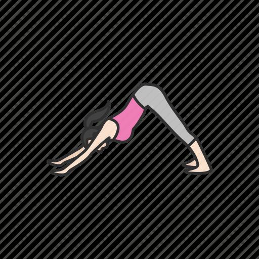 bending, fitness, health, meditation, standing forward bend, yoga, yoga pose icon