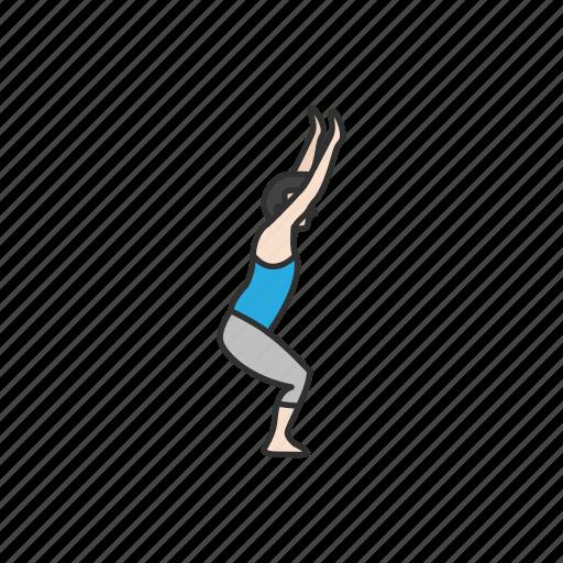 exercise, fitness, stretching, virabhadrasana 1, warrior pose, yoga, yoga pose icon