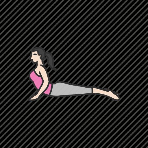 exercise, fitness, stretching, upward facing dog, workout, yoga, yoga pose icon
