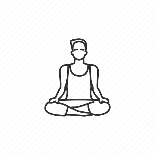 easy pose, exercise, good health, male, pose, yoga, yoga pose icon