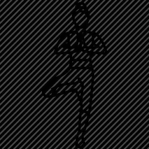 pose, tree, yoga icon