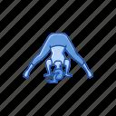 bend, exercise, fitness, wide legged forward, workout, yoga, yoga pose icon