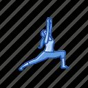 exercise, fitness, virabhadrasana 1, warrior pose, workout, yoga, yoga pose icon
