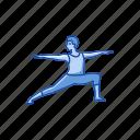 exercise, fitness, virabhadrasana 2, warrior 2, workout, yoga, yoga pose icon