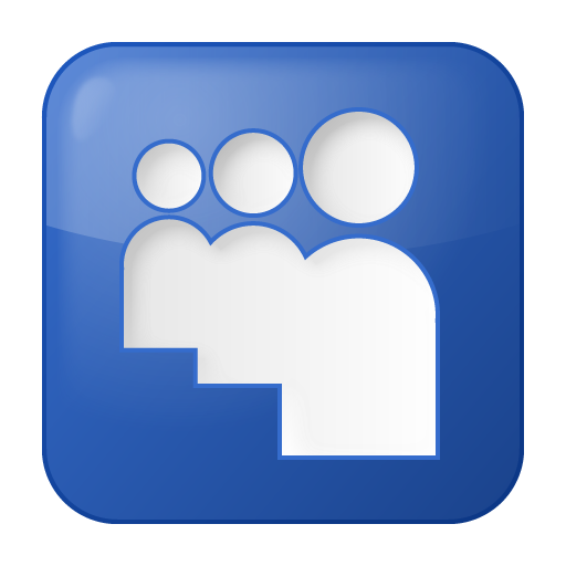 Space Management Icon : Blue myspace social icon search engine
