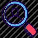 employee search, friend search, human search, profile search, recruitment icon