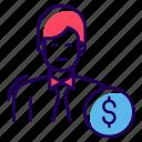 banker, broker, capitalist, financier, investor icon