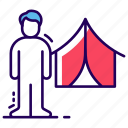camp, camping person, canopy, chalet, hut, marquee, tent icon